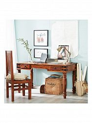 indickynabytok.sk - Písací stôl Jali 130x76x70 indický masív palisander, Svetlomedová