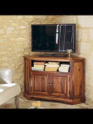indickynabytok.sk - TV stolík rohový 110x70x50 indický masív palisander, Natural