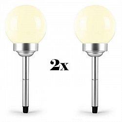 OneConcept LED-Flower 30, 2x záhradné svietidlo, solárna lampa, Ø 30 cm, 4 LED diódy, IP44, teplá biela